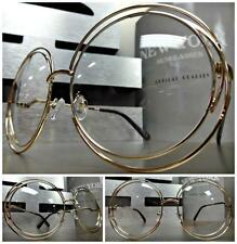 OVERSIZED VINTAGE RETRO Style Clear Lens EYE GLASSES Huge Large Round Gold Frame