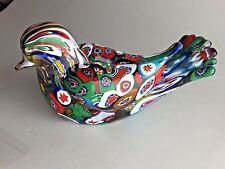 Vintage Millefiori Art Glass Dove Bird Figurine Paperweight