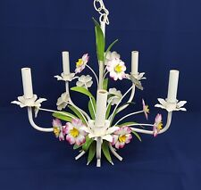 Vtg Mid Century Italian TOLE Metal CHANDELIER Pink & Yellow FLOWERS Shabby Chic