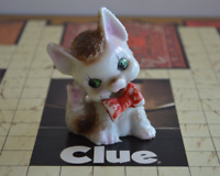 Vintage Brown and White Cat with Red Bow Figurine Ceramic Marked Japan