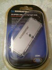 NEW Manhattan 160599 Hi Speed USB 2.0 Pocket Hub 4-Port Hub Bus Power