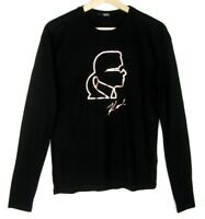 KARL LAGERFELD Tee-shirt manches longues noir profil & signature or rose S