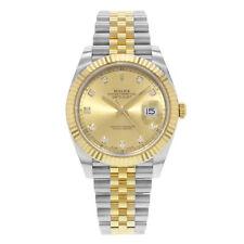 Rolex Datejust 41 Steel 18K желтое золото шампанское бриллиантовый циферблат мужские часы 126333