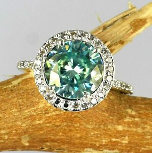 Round Cut 5.33 Ct Blue Diamond Solitaire Halo Proposal Ring-Great Gift