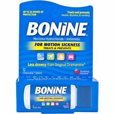 Bonine Travel Pack for Motion Sickness - 12 Chewable Raspberry Flavored Tablets
