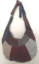 Navy, Burgundy & Gray Patch Work Hobo Style Genuine Leather Handbag