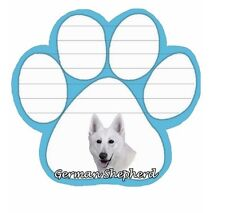 GERMAN SHEPHERD-White 50 Sheet Paw Print Shape Sticky Note Pad w/ Magnetic Back