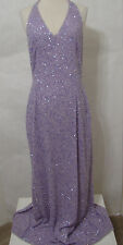 Lavender Beaded V-neck Halter Formal Gown 12 Super Model Length