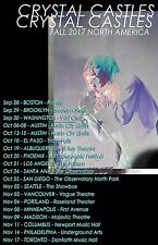 "CRYSTAL CASTLES ""FALL 2017 NORTH AMERICA"" CONCERT TOUR POSTER- Electropunk Music"