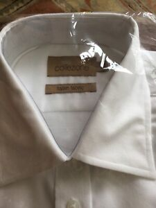 Marks & Spencer Shirt 16.5 White short sleeve collezione Italian Fabric BNWT