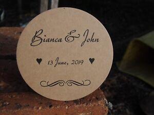 Personalized  WEDDING COASTERS, X 100 Round