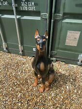 More details for large life size italian ceramic doberman dog excellent condition signed to base