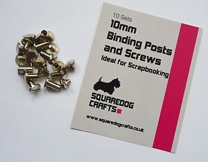 10mm NICKEL BINDING POSTS AND SCREWS 10 PK - IDEAL FOR BINDING AND SCRAPBOOKING