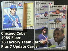 CHICAGO CUBS 1989 Fleer 32-Card Team Set from Factory & Update Sets