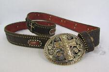 Women Brown Leather Western Fashion Belt Gold Metal Cross Charm Buckle S M L
