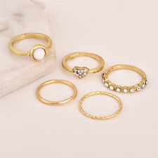 5Pcs/Set Charm Above Knuckle Crystal Pearl Ring Band Gold Tip Stacking Jewelry