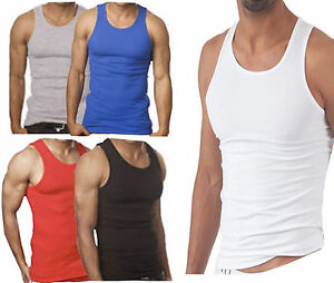 3,6X PACK MENS VESTS 100% COTTON TANK TOP TRAINING GYM TOPS PACK PLAIN COLORED