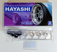 "Aoshima 1/24 Hayashi 14"" Wheel Rims & Tire Set For Plastic Models 5259 (20)"