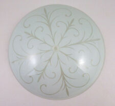"Glass CEILING Light SHADE 11.75"" ROUND Mid Century Flower Design White"
