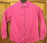 Isaac Mizrahi For Target Womens XL Pink Long Sleeve Silk Blend Blouse Shirt Top