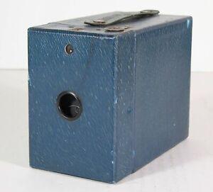 ca1926 KODAK RAINBOW HAWKEYE NO. 2 MODEL C BOX CAMERA BLUE LEATHERETTE SKIN