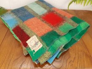 Vintage 60's Multicoloured Patchwork Blanket Throw Mid-Century Retro Free Post