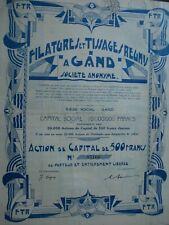 ACTION BELGIQUE FILATURES ET TISSAGES REUNIS A GAND GENT  1930  ART DECO
