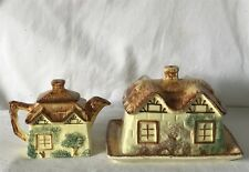 Vintage Matching or Similar Set - Small Teapot & Butter Dish Different Makers