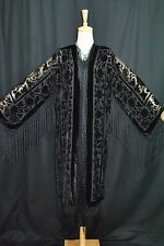 Art to Classic Black Burnout Velvet Fringe Kimono Opera Coat Duster Jacket Maya