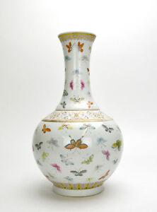 19th c. Chinese Qing Guangxu Famille Rose 100 Butterfly Globular Porcelain Vase