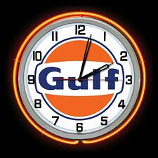 """19"""" GULF OIL New Style Logo Sign Double Neon Clock Chrome Finish"""