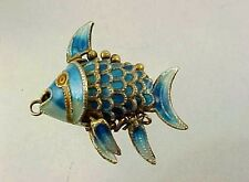 Vintage Sterling Silver Blue Enamel WIGGLE ARTICULATED FISH Charm