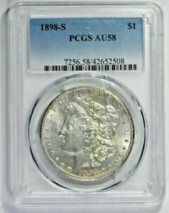 1898-S $1 Morgan Silver Dollar PCGS AU58 (1106-13) 99c NO RESERVE  Witter Coin