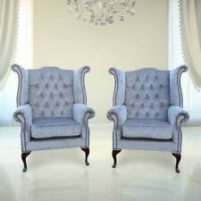 Chesterfield  Ohrensessel Sessel Couch Sofa Polster Sitz Lounge Babyblau Relax
