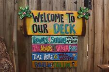 WELCOME DECK TROPICAL TIKI HUT HAND MADE PERSONALIZED SIGN  PLAQUE