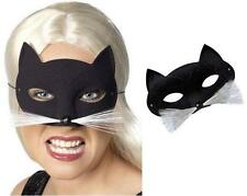 Halloween Fancy Dress Cat Mask with Whiskers Black/White New by Smiffys