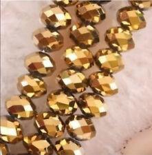 70PCS 5x8mm Gold Crystal Faceted Abacus Loose Beads