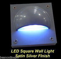 LED Square Outdoor Wall Light Satin Silver - 12V Safe Low Voltage