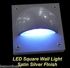 LED Square Outdoor Wall Light Satin Silver - 12V Safe Low Voltage