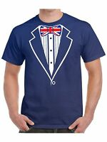 Tuxedo T Shirt With Union Jack Flag Bow Tie Hen Stag Night Fancy Dress