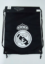 "Real Madrid Soccer Gym Sack Cinch Backpack Bag New Football Black 17"" x 13"""