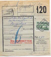 BELGIUM RAIL PARCEL CONSIGNMENT RECEIPT;TIENEN-ANTWERP;24/12/1952.