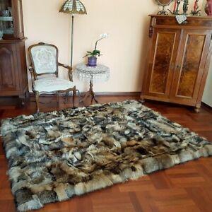 Pelz Teppich aus Waschbär Fell Tagesdecke aus Raccoon Pelz Felldecke 160x215cm