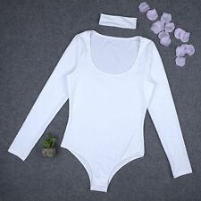 Womens Long Sleeve Bodysuit Leotard Bodycon Bandage Jumpsuit Romper Tops Blouse
