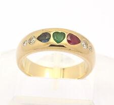 ♦♦ Ring in 18 kt Gelb Gold mit Brillanten Brillant Smaragd Rubin Saphir Bandring