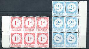 Nigeria 1961 QEII Postage Due 1d & 2d block of 6 mint stamps MNH