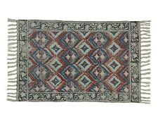 2x3 Ft Cotton Area Rug Floor Handmade Carpet Small Size Dari Multi Color Doormat