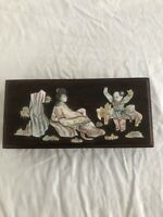 Antique Chinese wooden box mother of pearl inlay republic era beautiful original