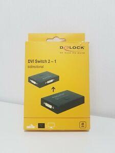 Delock DVI 2 - 1 Switch Port Umschalter bidirektional 4K 30 Hz schwarz