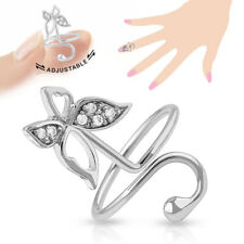 Butterfly Multi-Paved Cz Gems Adjustable Nail Ring / Toe Ring